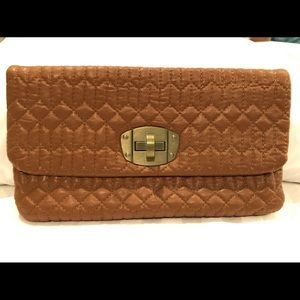 UNDER ONE SKY quilted camel color clutch